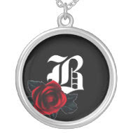 Gothic Rose Monogram Necklace necklace