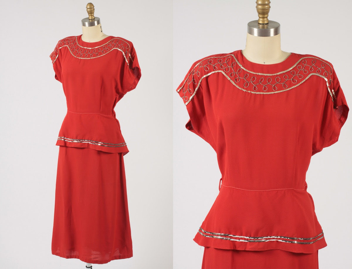 1940s dress/ 40s rayon dress/ sequin trim
