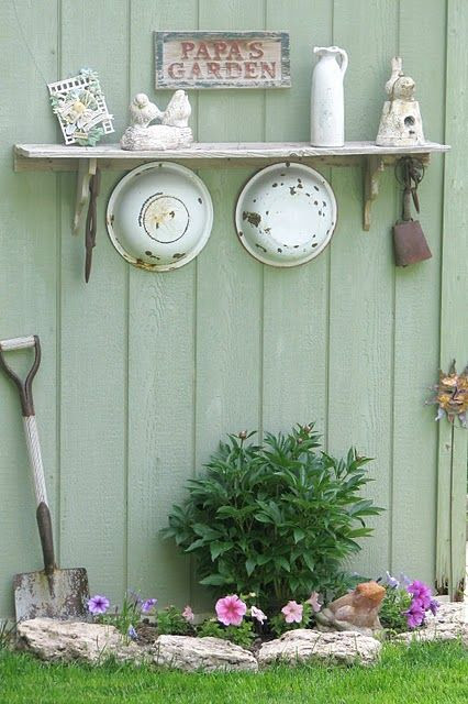 ♥ Old Enamel Crockery - repurposed for life outdoors as garden art. | The Micro Gardener....forget the garden!  I want this in my kitchen!