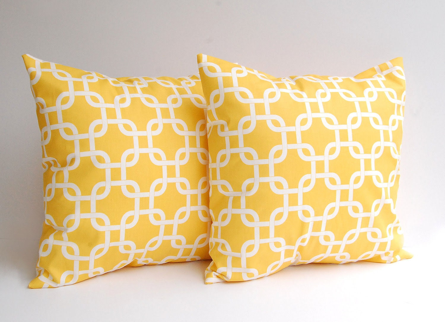Yellow throw pillows set of two 18 x 18 inches by ThePillowPeople