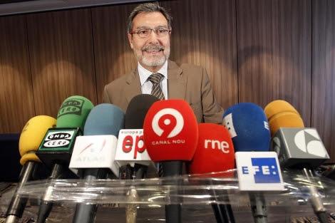 El ex ministro del Interior, Antoni Asunción, en una reciente rueda de prensa | E.M.