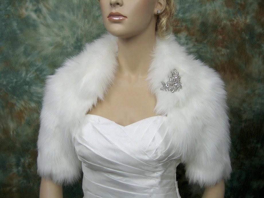Ivory faux fur bolero jacket shrug Wrap FB005-Ivory
