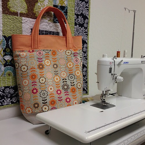New tote bag from bolt ends. Started at 4pm finished at 6pm. Looks pretty with the #aurifil in the machine.