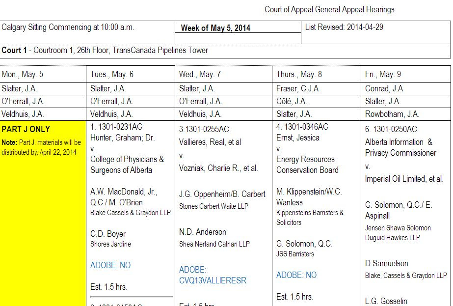 2014 05 08 Ernst v. ERCB Justices Calgary Court of Appeal of Alberta