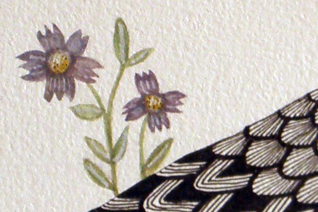 Bird with Purple Flowers