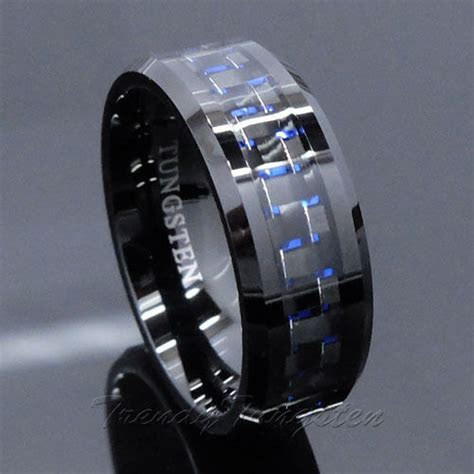 Men's Tungsten Ring with Carbon Fiber 8mm Black and Blue