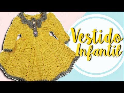 فيديو شرح طريقة عمل فستان اطفال بنات بيبى بكم شتوى كروشية Children's dress in crochet كروشيه