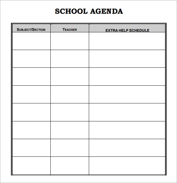 Daily Agenda Template For Students – My Blog