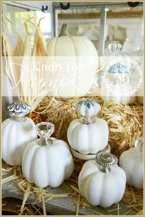 KNOB TOP PUMPKINS-very chic way to decorate a pumpkin-stonegableblog.com