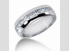 1.20 Ct Men Diamond Ring Wedding Band Princess Cut Channel 14k White Gold   Anniversary bands