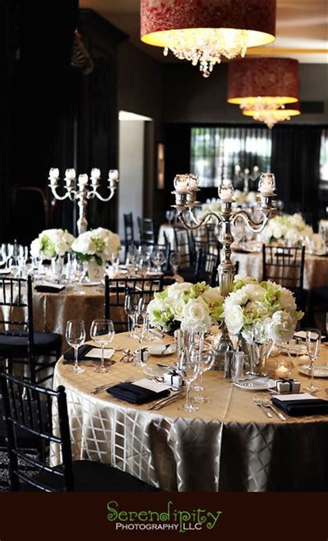 I like the satin champagne tablecloths with the white