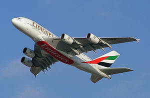 An Airbus A380 seen painted in Emirates Airlin...