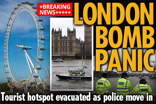 London Eye Waterloo Pier WW2 bomb River Thames evacuated London UK