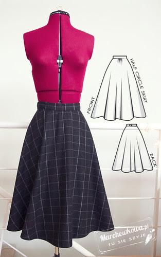blog, moda, retro, vintage, fashion, szycie, krawiectwo, half circle skirt, spódnica z połówki koła, wełna, krata, Piegatex, wykrój