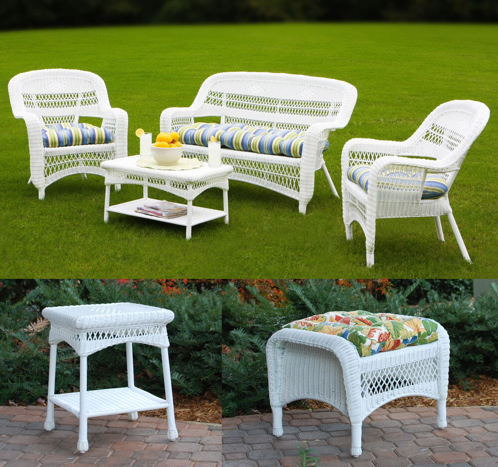 6pc Outdoor Furniture Synthetic White Wicker Patio Seating ...
