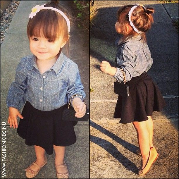 denim shirt and high waisted skirt. So cute!