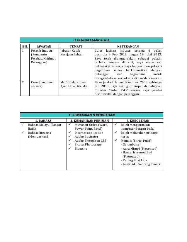 contoh resume customer service