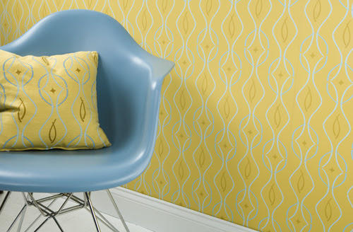 Modern wallpaper + Eames shell: Retro-modern yellow geometric wave print + matching fabric