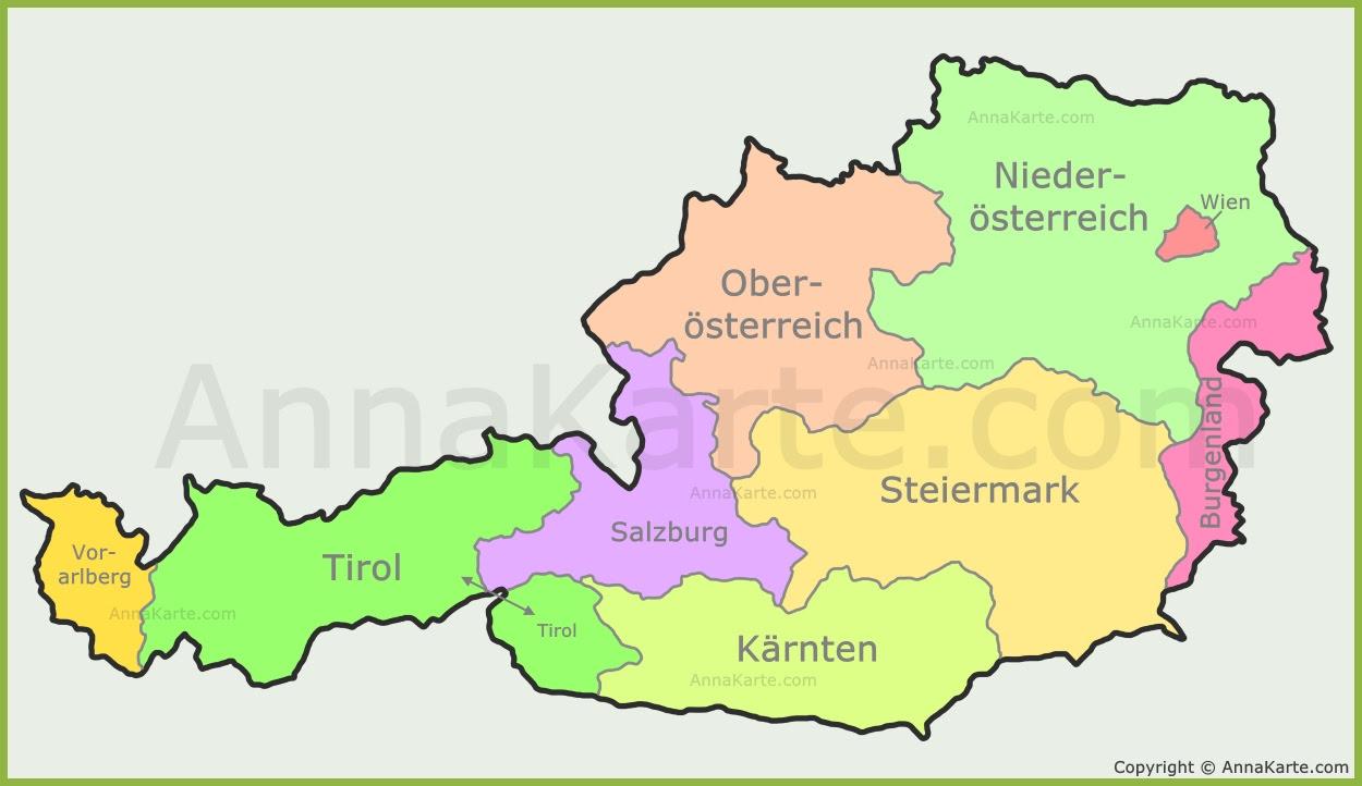 österreich Karte Mit Bundesländer Annakartecom
