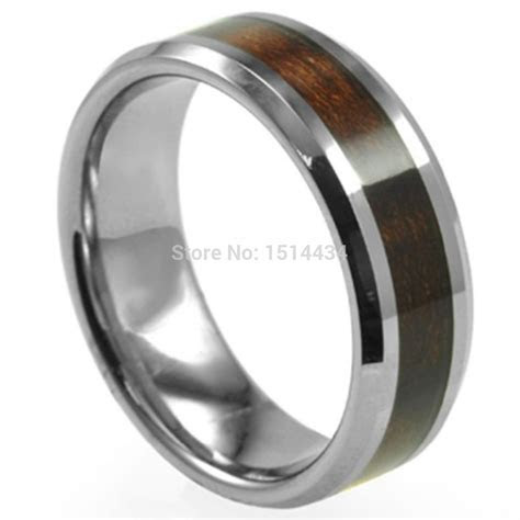 8MM Men Size 7 15 Wood Inlay Stainless Steel Wedding