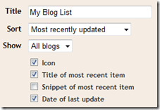 Configure Blog List