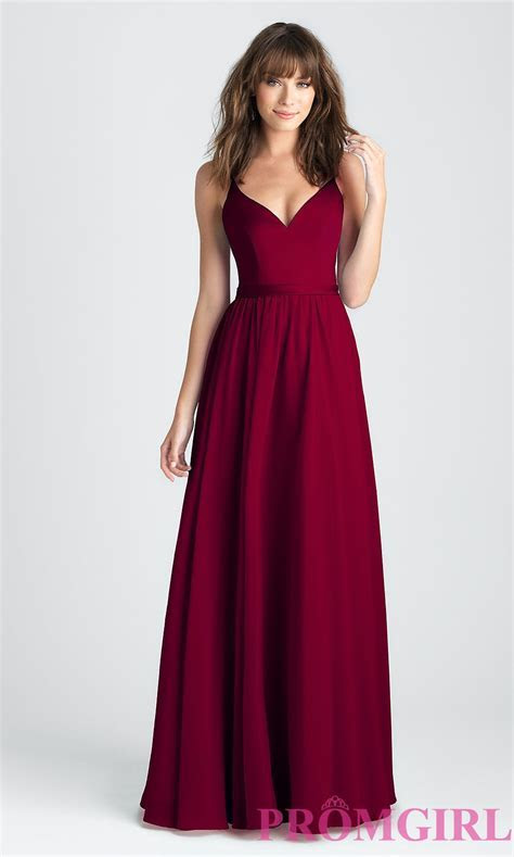 Classic A Line Long Prom Dress in Burgundy Red   Prom