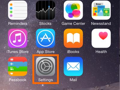 iPhone Settings on Home screen