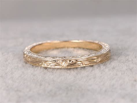 Antique Wedding Band Solid 14k Yellow Gold Filigree Flower