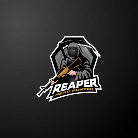 grim reaper esports logo mascot vector premium