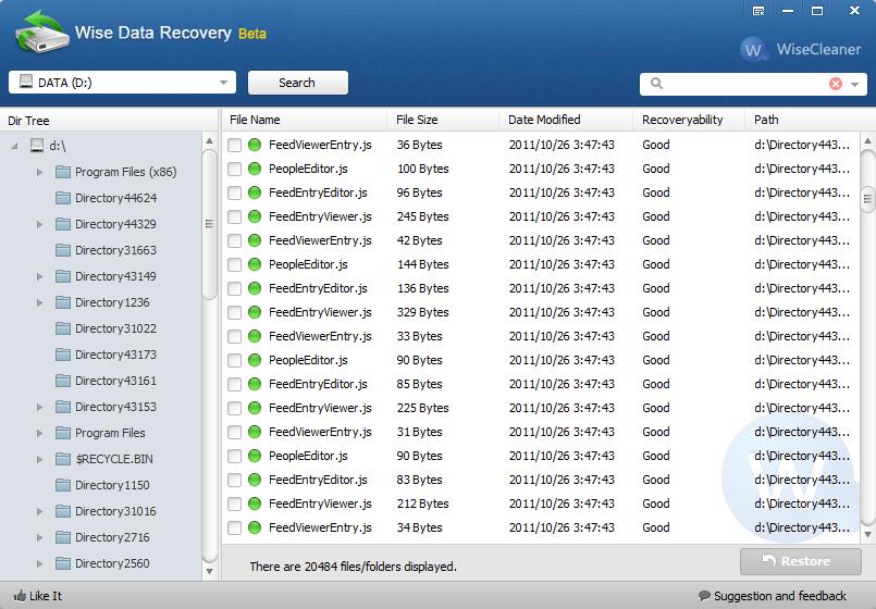 Wise Data Recovery: Software para recuperar archivos borrados que indica el nivel de