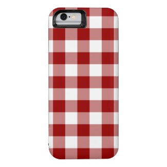 Red and White Gingham Pattern iPhone 6 Case