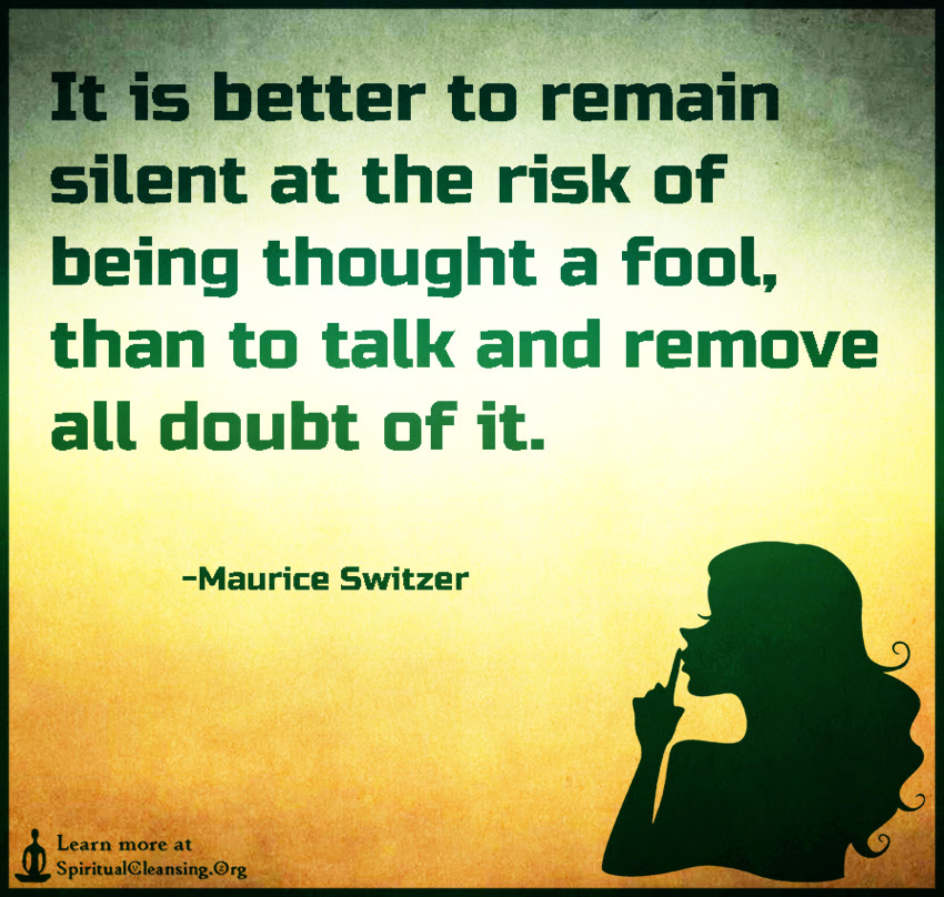 It Is Better To Remain Silent At The Risk Of Being Thought A Fool
