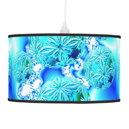Blue Ice Crystals Abstract Aqua Azure Cyan Fractal Hanging Pendant Lamp