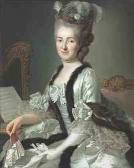 Portrait of the Reichsgräfin von Fries, née Gräfin Anna d'Escherny (1737-1807), seated, half length, in a plumed headdress and white satin fur-trimmed gown