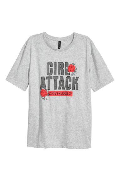 T-shirt z nadrukiem - Jasnoszary - ONA | H&M PL