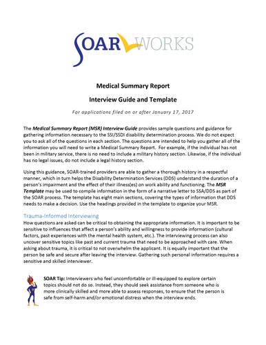 Medical Summary Report (MSR) Interview Guide and Template