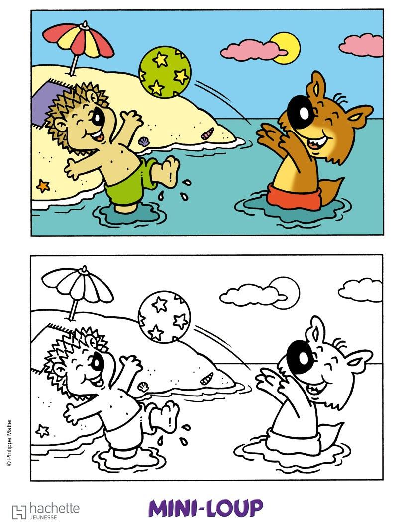 coloriage de MINI LOUP  la plage