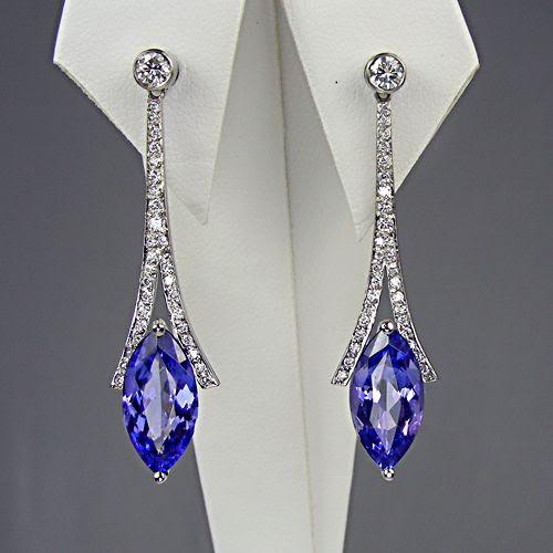 Tanzanite and diamond drop earrings in platinum