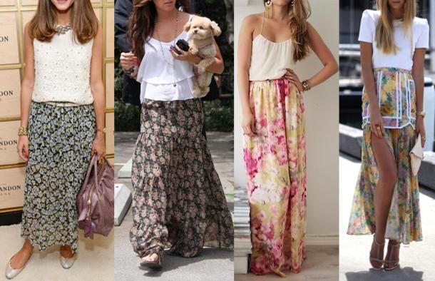Imagem-1-Look-do-Dia-Saia-Longa-Estampada-Blusa-Branca-Saia-Longa-Floral-Sapatilha-Sandália-Rasteirinha-Verão