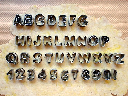 Cutting out the alphabet crackers