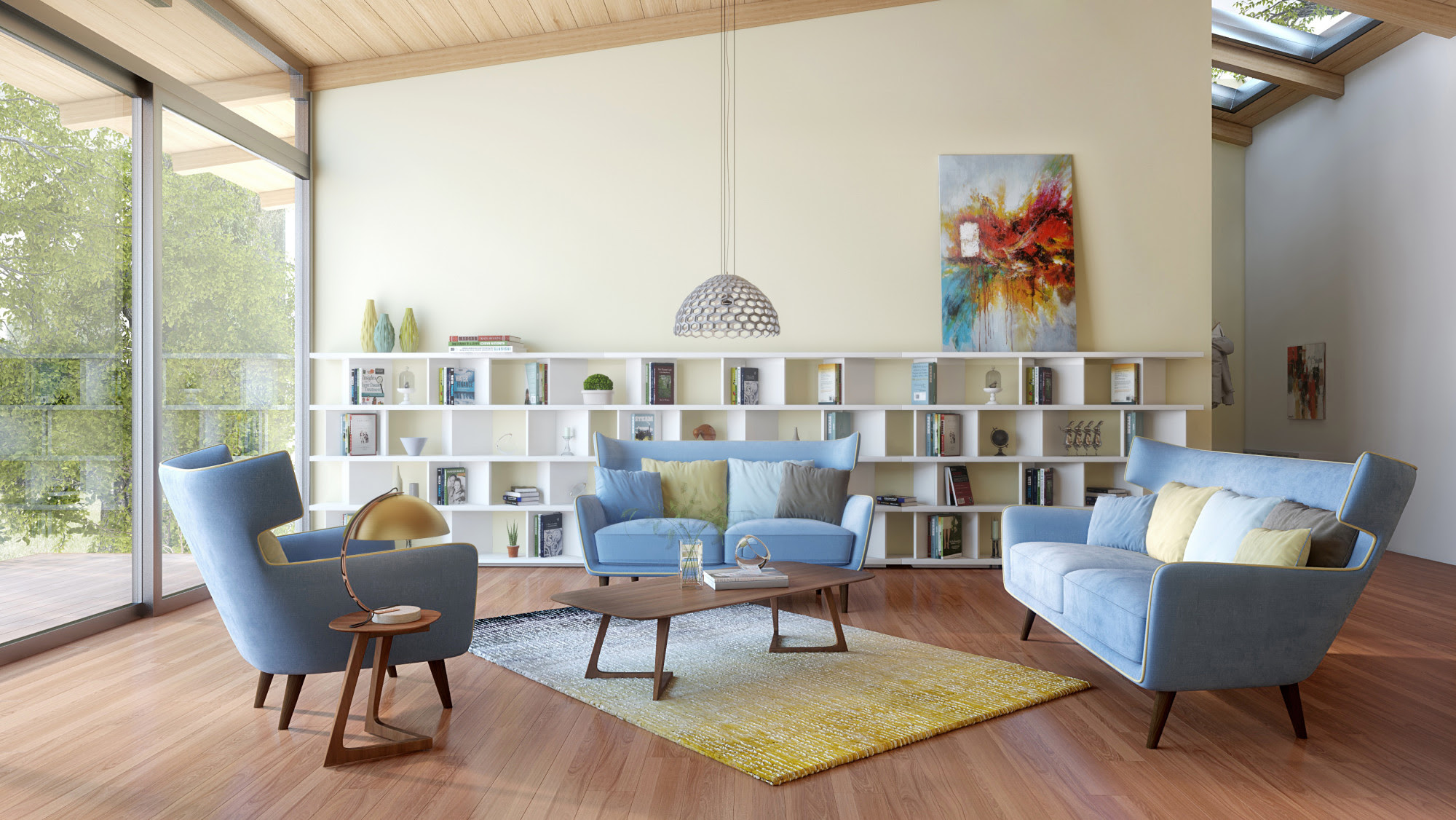 How to Decorate Your Living Room with a Modern Blue Fabric ...