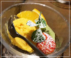 デザートは驚きの人参アイス。自然な甘さで良い感じ。
