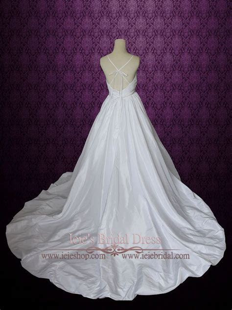 Empire Waist A line Wedding Dress with Thin Straps and