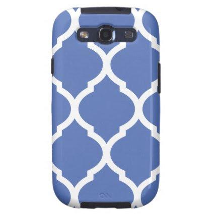 Blue Chic Moroccan Lattice Pattern Samsung Galaxy S3 Cases