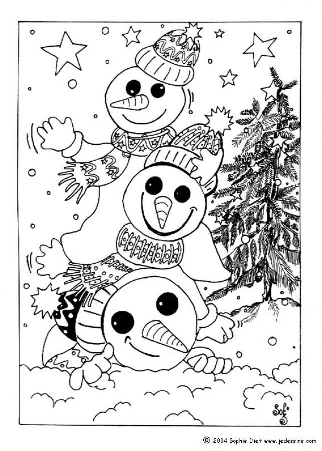 SNOWMAN coloring pages - Snowmen for Christmas Eve