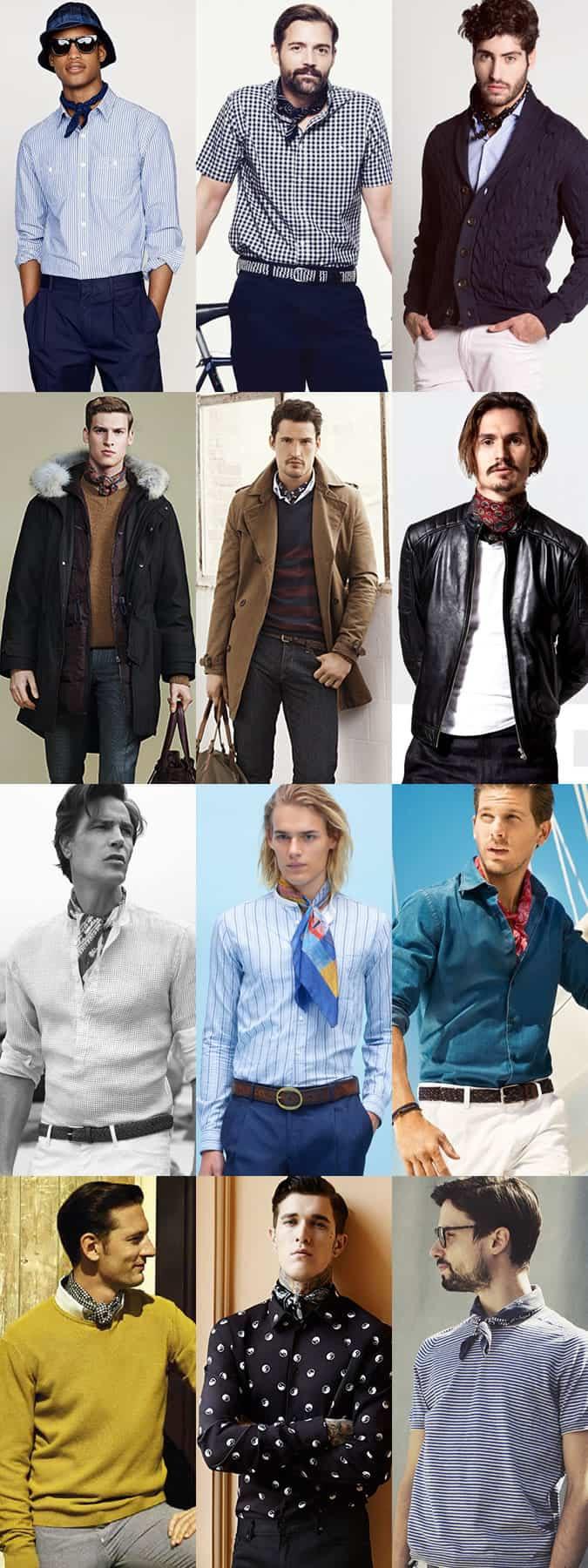 Men's Lightweight Scarves and Neckerchiefs Outfit Inspiration Lookbook