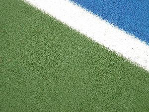 Close view of a water-based Artificial turf
