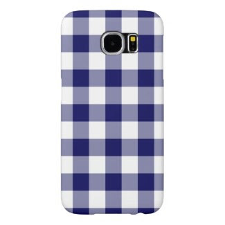 Navy and White Gingham Pattern Samsung Galaxy S6 Cases