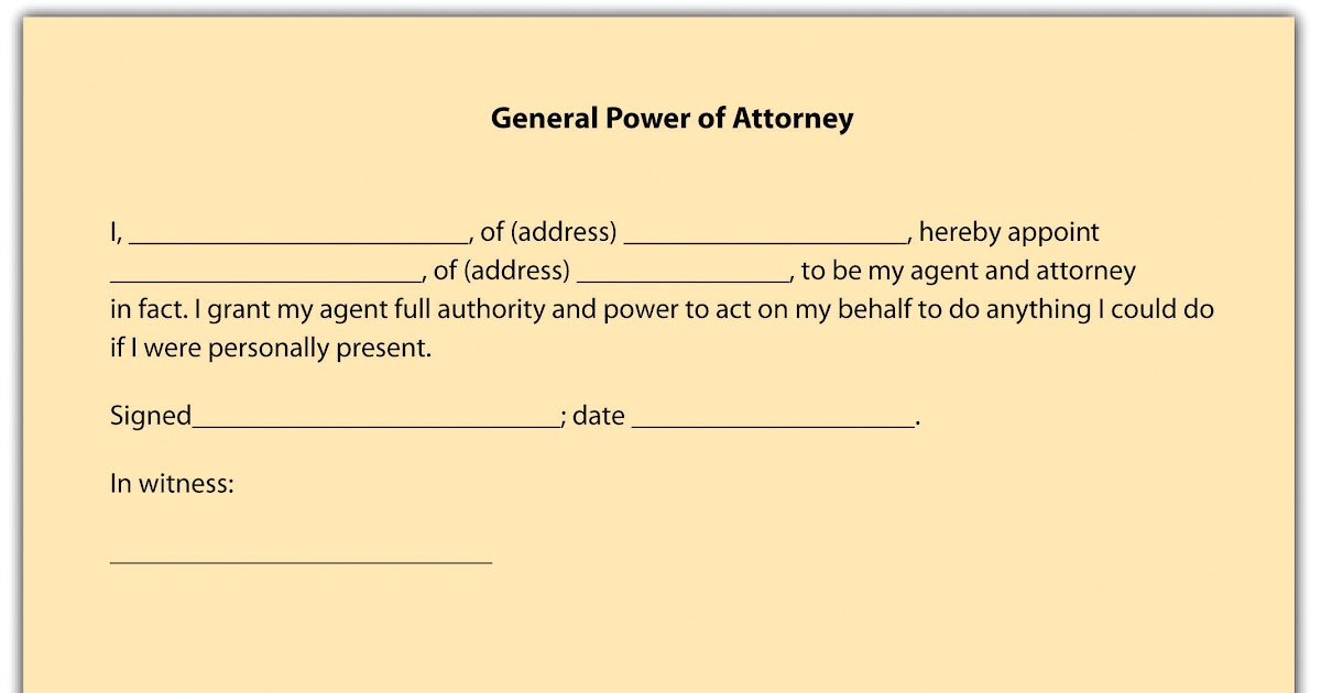 sample letter giving someone power of attorney