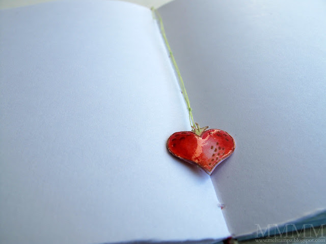 dangly heart strawberry threaded bookmark